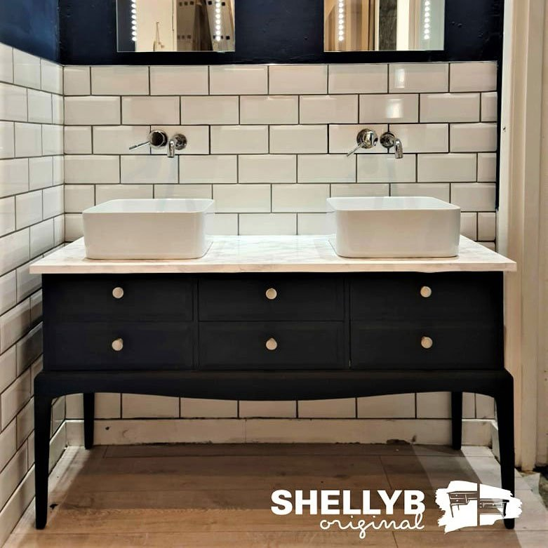 Upcycled furniture reworked into large Vanity Unit